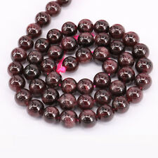 "16"" Strand Garnet Gemstone Natural Stone Round Loose Spacer Bead Crafts 4-10MM"