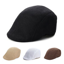 Mens Peaked Racing Country Golf Newsboy Beret Cap Herringbone Flat Hat