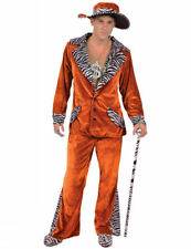 Mens Retro 70s Orange Pimp Gangster Daddy Suit Stag Fancy Dress Outfit Costume