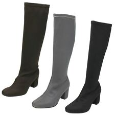 *SALE* Spot On F50623 Ladies Stretchy Lycra Zip Up Knee High Boots