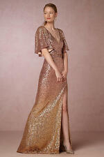 $895 New Marchesa Notte Embellished tulle Rose Gold Sequins GOWN dress  8