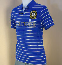 Small NWT TOMMY HILFIGER Men's Stripe mesh polo shirt /  Blue & Crest Logo