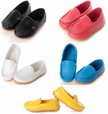 Boys Girls Kids PU Leather Oxford Flat Shoes Boat Sneakers Slip On Loafers