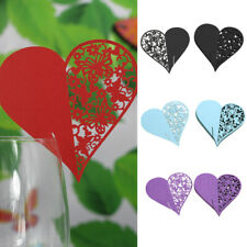 50pcs Heart Wedding Party Place Name Wine Glass Pearlescent Table Guest Cards