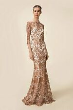 $1295 NEW Marchesa Notte Metallic Rose Embroidery Mermaid Tulle IVORY Gown 10 12