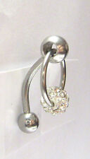 Clear CZ Crystal Ball Dangle Bar VCH Jewelry Clit Clitoral Hood Ring 14 gauge