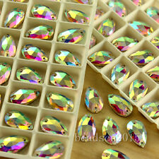 50pcs clear AB teardrop foiled flatback crystal Diamante sew on rhinestones Y-pk