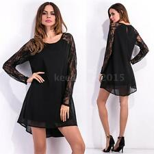 Women Chiffon Dress Lace High Low Shift Long Sleeve Party One-Piece Dress Q9X3