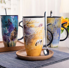 Lovely Painting Ceramic Coffee Milk Mug Cup With Lid Spoon Deco Creative Gifts