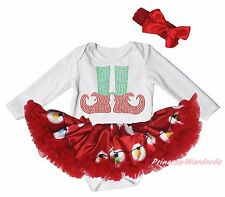 Christmas Elf Socks White L/S Bodysuit Red Xmas Lighting Girls Baby Dress NB-18M