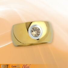 Stainless steel ring ''Blink'' 12mm golden polished m champagne Zirconia