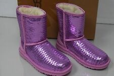 New UGG Uggs Kids Classic Short SPARKLES Sequins PINK Lilac Women Boots 2