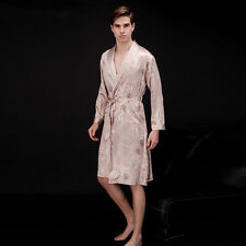 GIFTS! Mens Satin Silk Pajamas Kimono Robe Gown Loungewear Sleeping Wear