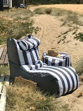 Outdoor Bean Bag Chair - grey stripes. Ideal for pool surrounds. With Pillow..