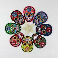 Punk Clothing Embroidered Iron/sew On Applique Flower Skull Head Patch Fabric