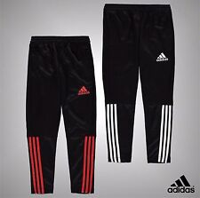 Junior Boys Adidas Closed Bottoms 3 Stripe Polyester Track Pants Size Age 7-13
