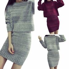 Women Winter Knit Long Sleeved Sweater Street Dress Top+Skirt Outfit Sweater Set
