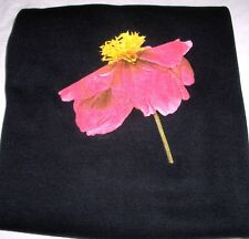 Pink Beauty Flower Gildan Black Fleece Long Sleeve Crew Sweatshirt Cotton Blend