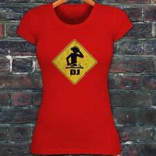 WARNING I'M A DJ MUSIC PARTY DANCE CLUB LIT RAVE Womens Red T-Shirt