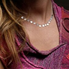 Handmade Jewelry Sequin Choker Collar Chain Gold Silver Pendant Necklace