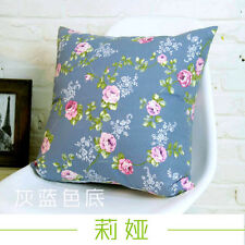 Retro 100% Cotton Canvas Throw Pillow Case Flower Cushion Cover French Country