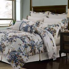 Chic White Blue Shabby Floral 12-Piece Egyptian Cotton Sateen Comforter Set