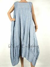 NEW Italian Linen Oversize Lagenlook Fine Stripe Plus Parachute Maxi Dress