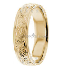 14K Yellow Gold Mens Womens Vintage Hand Carved Wedding Bands Rings 6mm Comfort