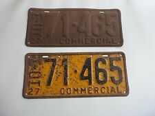 1927 ORIGINAL MICHIGAN STATE LICENSE PLATE MATCHED SET PAIR COMMERCIAL 71-465