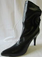 LADIES SPOT ON BLACK HIGH HEELED BOOTS WITH REAR BUCKLE (F5179)