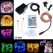 50-100 LED Copper Wire Remote Controller String Fairy Light Power Adapter Decor