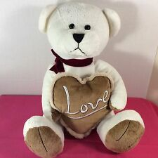 "Chrisha Creations Plush Stuffed Animal TEDDY BEAR White Love Pillow 16"" 2011"