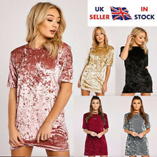 Womens Ladies Crushed Velvet Evening Party Cocktail Flared Swing Mini Dress tops
