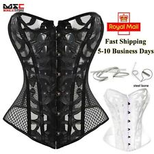 Bustier Basque Overbust Corset Waist Trainer Boned Lace Up Shapewear Cincher UK