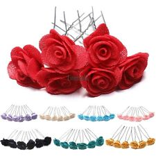 6 Rose Hair Pins Grips Flower Wedding Bridesmaid Accessories All Colours LM