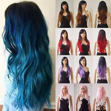 Two Tone Full Wigs for Womens Girls Costume Wig Curly Wave Straight Synthetic H7