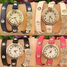 Multilayer Gifts Crystal Bowknot Faux Leather Band Wristwatches Quartz Analog