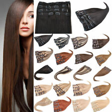 15''-28'' 70g ~ 120g Human Clip In Hair Extensions Hairpiece For Full Head Lot