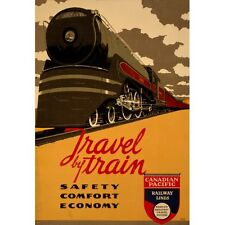 CANADIAN PACIFIC TRAVEL BY TRAIN VINTAGE TRAVEL POSTER