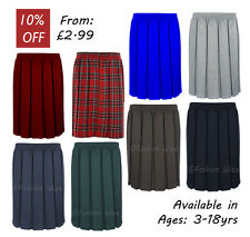 Ages 2-18 Box Pleated Fully Elasticated Girls School Plain Skirt Knee Length
