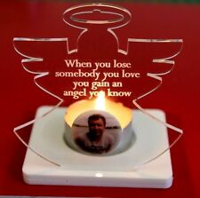 ANGEL Personalised Engraved PHOTO MEMORIAL Tealight Candle Holder