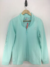 Vineyard Vines Womens Crystal Blue Foil Whale Graphic 1/4 Zip Pullover NWT