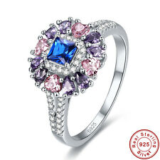 Free Jewelry Box Sapphire Pink Topaz Amethyst 925 Sterling Silver Ring Sz6 7 8 9