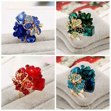 Fashion Colorful Resin Flower Rings Women Crystal Rhinestone Party Wedding Ring