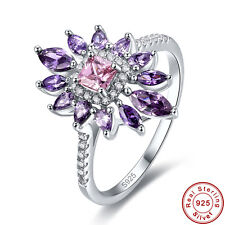 Free Jewelry Box Pink Topaz Amethyst 100% S925 Sterling Silver Ring Size 6 7 8 9
