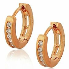 925 Sterling Silver White Round CZ Womens Girls Hoop Huggie Earrings
