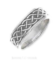 Sterling Silver Antiqued 7mm Loose Celtic Braid Band Ring - Ring Size: 07 to 13