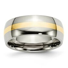 Titanium 14k Gold Inlay 8mm Polished Band Ring - Ring Size: 7 to 14
