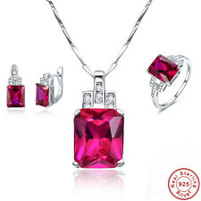 Free Box Engagement Ruby Ring+Earrings+Pendant 925 Sterling Silver Jewelry Sets