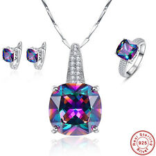 Free Box Rainbow Topaz Ring+Earrings+Pendant S925 Sterling Silver Jewelry Sets